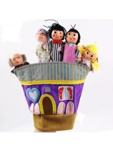 Wooden & Cloth Family Finger Puppet Hand Finger Ti...