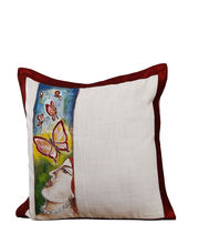 Hand Painted Lady Cotton Cushion Cover