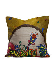 Hand Painted Floral Tussar Silk Cushion Cover