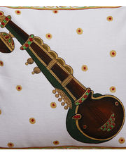 Hand Painted Tanjore Sitar Cushion Cover