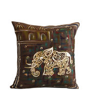 Hand Painted Royal Elephant Cushion Cover
