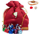 HomChoc Jute Pouch Big Rakhi Gift For Brother, multicolor