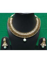 Beautiful American Diamond And Pearl Necklace-KNL0...