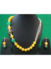 Beautiful Beaded Necklace In Yellow & Green Stone ...
