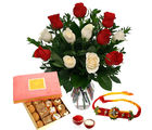 Giftacrossindia Loose Rakhi Express With Assorted Sweets And Roses Arrangement (GAIR2016262)