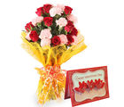 Gifts valley Bunch of Roses N Carnations With Valentine's Greeting Card