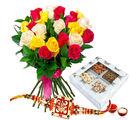Giftacrossindia Rakhi Express With Assortment Of Dry Fruits And Roses (GAIR2016219)