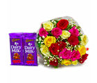 Giftacrossindia Bunch of 20 Assorted Roses with Bars of Cadbury Fruit N Nut Chocolates (GAIMPHD0154), 1000 gms
