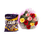 Gifts valley Assorted Roses with Chocolaty Eclairs