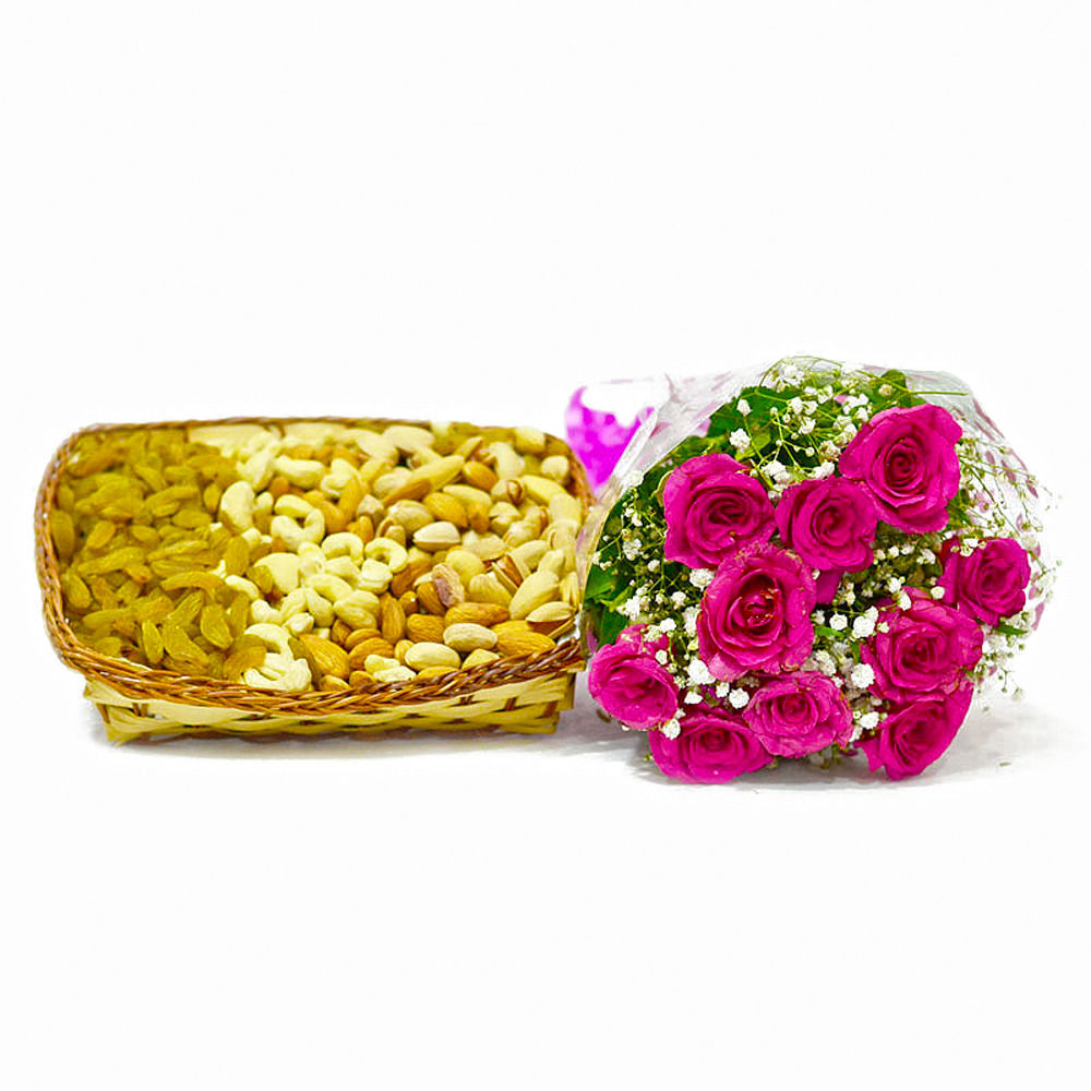 Giftacrossindia Bunch of 10 Pink Roses with Basket of Mix Dryfruits (GAIMPHD0357), 1000 gms