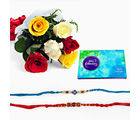 Giftacrossindia Set Of Two Rakhi Express With Mix Roses And Celebration Pack (GAIR2016063)