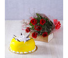 Giftacrossindia One kg Pineapple Cake with Six Red Roses Hand Tied Bouquet (GAIMPHD0563), 1000 gms