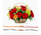 Giftacrossindia Flowers Basket Arrangement With Rakhi Express (GAIR2016051)