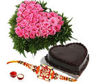 Giftacrossindia Heartshape Cake And Roses With Rakhi Express For Brother (GAIR2016191)