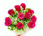 Giftacrossindia Ten Pink Colour Roses Hand Tied Bunch (GAIMPHD0059), 1000 gms