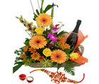Giftacrossindia Rakhi Express With Basket Of Mix Flowers And Wine (GAIR2016229)