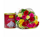 Giftacrossindia Bouquet of 20 Mix Lovely Roses with Bengali Sweet Rasgullas (GAIMPHD0432), 1000 gms