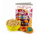 Giftacrossindia Two Diwali Clay Diya and Cashew Smiley Bowl with Diwali Greeting Card