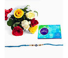 Giftacrossindia Rakhi Express With Mix Roses And Celebration Pack (GAIR2016062)