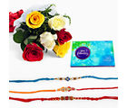 Giftacrossindia Set Of Three Rakhi Express With Mix Roses And Celebration Pack (GAIR2016061)