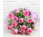 Giftacrossindia Bouquet of Dozen Pink Roses (GAIMPHD0003), 1000 gms
