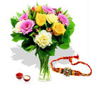 Giftacrossindia Rakhi Express And Mix Flowers Arrangement (GAIR2016179)