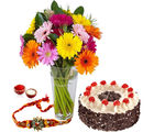 Giftacrossindia Rakhi Express With Cake And Gerberas (GAIR2016202)
