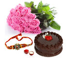 Giftacrossindia Pink Roses And Chocolate Cake With Rakhi Express (GAIR2016203)