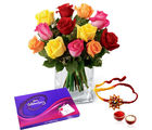 Giftacrossindia Mix Color Roses And Cadbury Celebration Chocolate Pack With Rakhi Express (GAIR2016234)