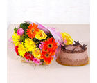 Giftacrossindia Assorted 15 flowers Bunch with Chocolate Cake (GAIMPHD0347), 1000 gms