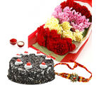 Giftacrossindia Mix Carnation With Black Forest Cake And Rakhi Express (GAIR2016193)