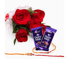 Giftacrossindia Bouquet Of 6 Red Roses With Dairy Milk And Set Of Two Rakhi Express (GAIR2016017)
