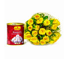 Giftacrossindia Bouquet of 20 Yellow Roses with Bengali Sweet Rasgullas (GAIMPHD0427), 1000 gms