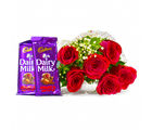 Giftacrossindia Six Red Roses Bouquet with Bars of Cadbury Fruit and Nuts Chocolate (GAIMPHD0107), 1000 gms