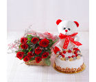 Giftacrossindia Ten Red Roses with Pineapple cake and Teddy Bear (GAIMPHD0491), 1000 gms