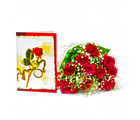 Giftacrossindia Ten Red Roses Bouquet with Greeting Card (GAIMPHD0497), 1000 gms