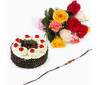 Giftacrossindia Black Forest Cake With Rakhi Express And Roses (GAIR2016058)