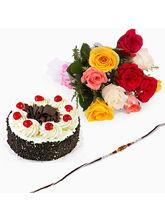 Giftacrossindia Black Forest Cake With Rakhi Expre...