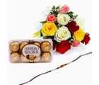 Giftacrossindia Mix Roses And Ferrero Rocher Chocolate With Rakhi Express (GAIR2016059)