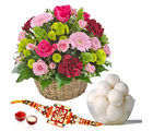 Giftacrossindia Rasgulla And Rakhi Express With Fresh Flowers Basket (GAIR2016248)