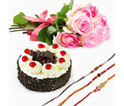 GiftsAcrossIndia Black Forest Cake With Pink Roses And Three Rakhi Express (GAIR2016037)