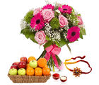GiftsAcrossIndia Flower Bouquet With Mix Fruits And Rakhi Express (GAIR2016292)