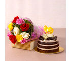 Giftacrossindia Mix Roses Bouquet with Chocolate Sponge Creamy Cake (GAIMPHD0536), 1000 gms