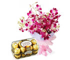 Gifts valley Orchids Bunch N Ferrero Box