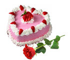 Gifts valley Valenitne Heartshape Strawberry Cake 15 kg and Rose