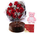 Gifts valley Midnight Token of Roses, Teddy & Cake