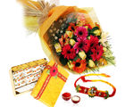 Giftacrossindia Rakhi Express And Bouquet Of Flowers With Kaju Mix Sweets (GAIR2016245)