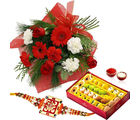 Giftacrossindia Red And White Flowers With Rakhi Express And Sweets (GAIR2016258)