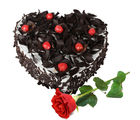 Gifts valley Heartshape BlackForest Cake 15 kg with Rose