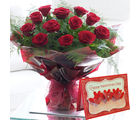 Gifts valley Valentine 15 Red Roses Hand Bunch with Greeting Card